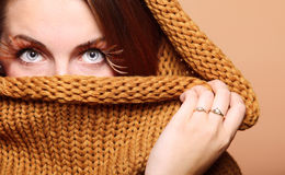 Autumn woman fresh girl glamour brown hair eye-lashes Stock Image
