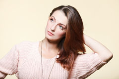 Autumn woman fresh girl glamour brown hair eye-lashes Stock Photography