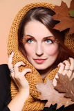 Autumn woman fresh girl glamour brown hair eye-lashes Stock Images