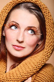 Autumn woman fresh girl glamour brown hair eye-lashes Royalty Free Stock Photo