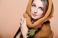 Autumn woman fresh girl glamour brown hair eye-lashes Stock Photo