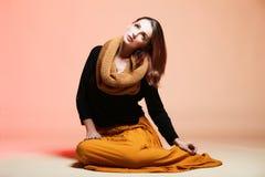 Autumn woman fresh girl glamour brown hair eye-lashes Royalty Free Stock Images