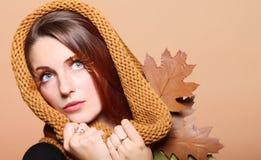 Autumn woman fresh girl glamour brown hair eye-lashes Stock Photo