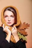 Autumn woman fresh girl glamour brown hair eye-lashes Royalty Free Stock Photos