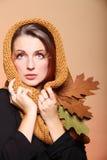 Autumn woman fresh girl glamour brown hair eye-lashes Royalty Free Stock Photos