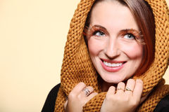 Autumn woman fresh girl glamour brown hair eye-lashes joyful smi Stock Photography