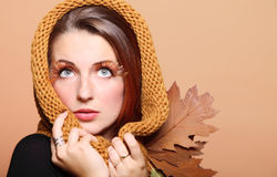 Autumn woman fresh girl glamour eye-lashes Stock Photos