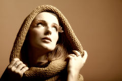 Autumn woman fresh girl glamour eye-lashes Royalty Free Stock Photography
