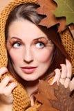 Autumn woman fresh girl glamour eye-lashes Stock Images