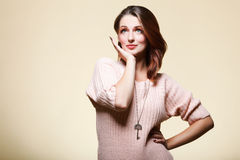 Autumn woman fresh girl glamour eye-lashes Royalty Free Stock Images