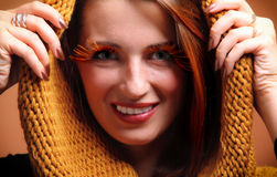 Autumn woman fresh girl glamour eye-lashes Royalty Free Stock Images