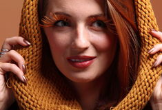 Autumn woman fresh girl glamour eye-lashes Stock Photo