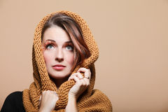 Autumn woman girl brown hair eye-lashes Royalty Free Stock Photo