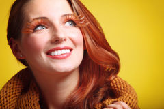 Autumn woman girl glamour brown hair eye-lashes Royalty Free Stock Image