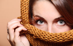 Autumn woman girl glamour brown hair eye-lashes Royalty Free Stock Photography