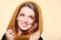 Autumn woman girl glamour brown hair eye-lashes Stock Photos