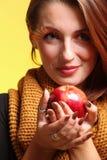 Autumn woman girl glamour eye-lashes red apple Royalty Free Stock Photos