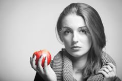 Autumn woman girl red apple eye-lashes black white Stock Photo