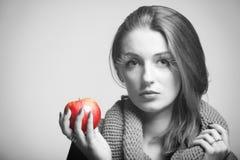 Autumn woman girl red apple eye-lashes black white. Autumn woman apple fashion female, fresh girl glamour eye-lashes black and white Stock Photo