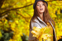 Autumn woman in golden park Stock Image
