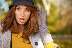 Autumn woman in golden park Stock Photography