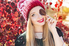 Autumn woman happy with colorful fall leaves Stock Photography