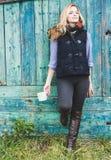 Autumn woman holding coffee mug. Stock Photography