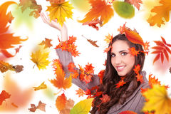 Autumn woman holding cone stock photos