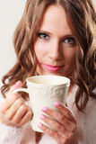 Autumn woman holds mug with coffee warm beverage Stock Images