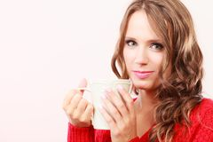 Autumn woman holds mug with coffee warm beverage Stock Photography