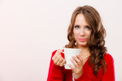 Autumn woman holds mug with coffee warm beverage Royalty Free Stock Photos