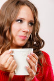 Autumn woman holds mug with coffee warm beverage Royalty Free Stock Images