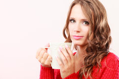 Autumn woman holds mug with coffee warm beverage Stock Image