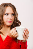 Autumn woman holds mug with coffee warm beverage Royalty Free Stock Image