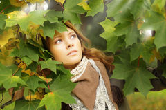 Autumn woman in leaves Stock Images