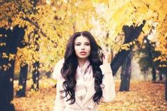 Autumn Woman Model perfecto con el pelo rizado oscuro Imágenes de archivo libres de regalías