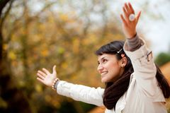 Autumn woman outdoors Royalty Free Stock Photography