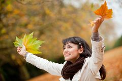 Autumn woman outdoors Stock Photography