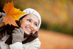 Autumn woman outdoors Royalty Free Stock Images