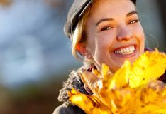 Autumn woman outdoors Stock Images