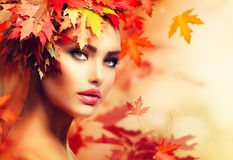 Autumn Woman Portrait Royaltyfri Foto