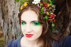 Autumn Woman Portrait. Royaltyfria Bilder