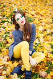 Autumn Woman Portrait. Imagem de Stock