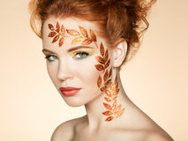 Autumn woman portrait with elegant hairstyle.  Perfect makeup Royalty Free Stock Photos