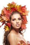 Autumn Woman portrait on white Royalty Free Stock Photo