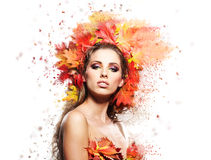 Autumn Woman portrait on white Royalty Free Stock Images