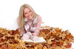Autumn woman read in studio Stock Photos