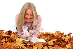 Autumn woman read in studio Royalty Free Stock Images