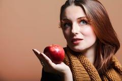 Autumn woman red apple fresh girl eye-lashes Royalty Free Stock Photos