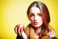 Autumn woman red apple fresh girl glamour eye-lashes Stock Photo